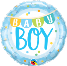 "Baby Boy Banner & Dots Foil Balloon (18"") 1pc"